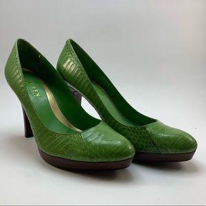 Ralph Lauren Green Snakeskin Heel
